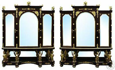 French Empire Vitrines/ Cabinets, Rare Antique Pair in Perfect Condition #5970