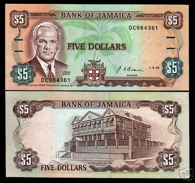 JAMAICA $5 P70 1992 MANLEY PARLIAMENT UNC CARIBBEAN CURRENCY MONEY BILL 10 NOTES