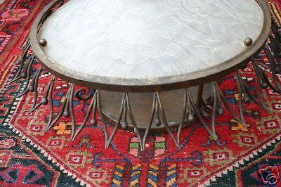 A Large Art Nouveau Wrought Iron/Glass Ceiling Lamp 10