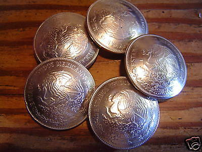 CONCHOS: 5 real coin 20 Peso Mexican Nickle Silver with Post and Screw