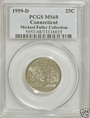 Click now to see the BUY IT NOW Price! 1999 D CONNECTICUT CLAD QUARTER PCGS MS 68 TOP POP